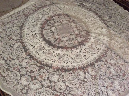 White Cotton Blend Round Lace Tablecloth