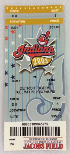 MLB 2003 05/20 Detroit Tigers at Cleveland Indians Ticket-Dmitri Young HR
