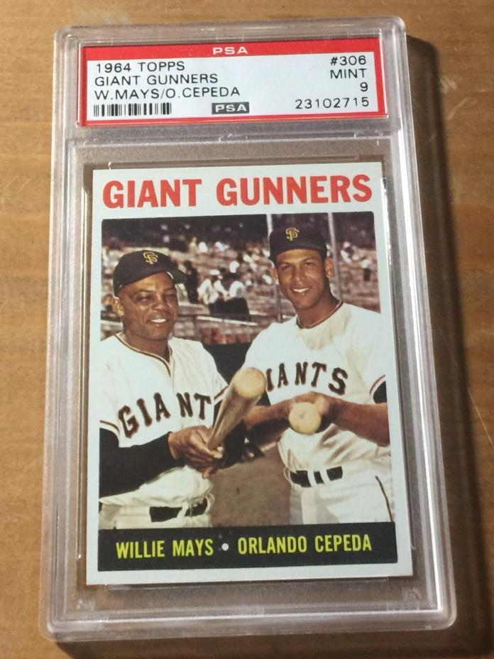 1964 TOPPS Giant Gunners Mays/Cepeda #306 MINT PSA 9