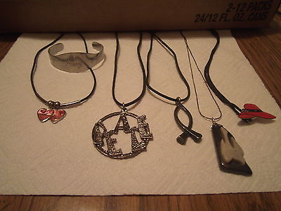 Lot 5 Necklaces 4 leather rope 1 Silver tone plus 1 bracelet Mary RED HAT CLUB?