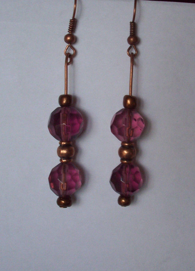NEW BEAUTIFUL ANTIQUED COPPERTONE, PURPLE GLASS PIERCED EARRINGS