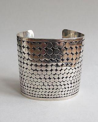 VTG super modernist slim tapered wide cuff bracelet 71 grams sterling silver