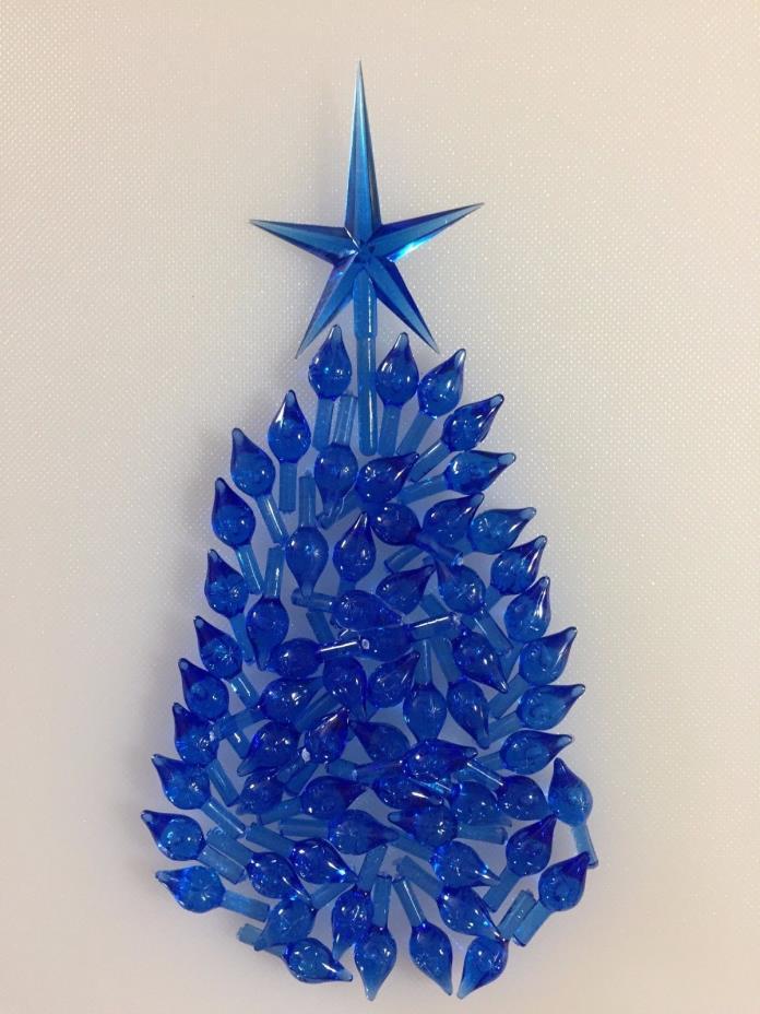 60 BLUE STARLIGHT TWINKLE SMALL BULBS STAR Vintage Ceramic Christmas Tree Lights