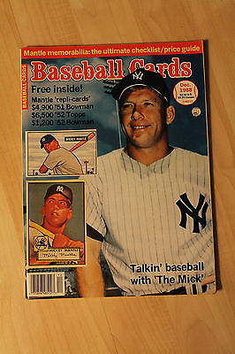 DEC 1988 MICKEY MANTLE,NY YANKEES BASEBALL CARD MAGAZINE
