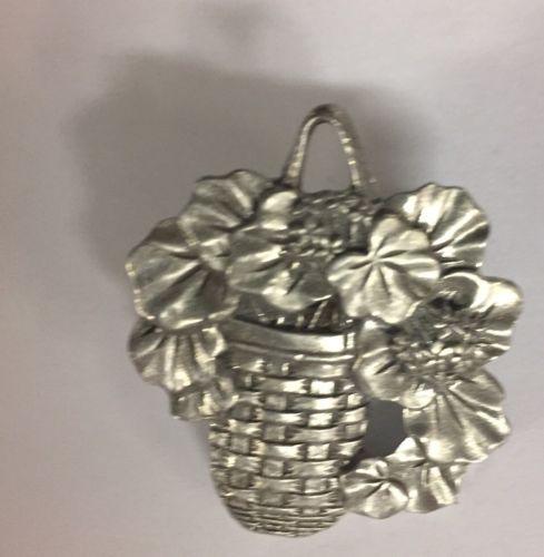 Flowers In A Wicker Basket Brooch Pin Costume Jewelry