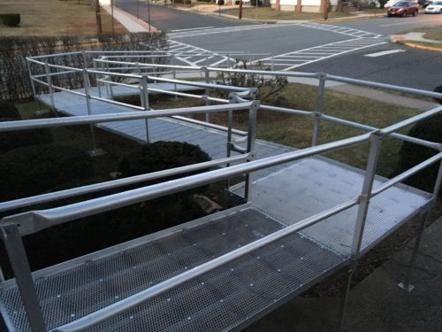 Wheelchair Handicap 35' Aluminum Ramp System With 2 Corners And Transitions