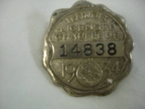 Antique 1934 Illinois Chauffeur License Badge Tag #14838 Taxi Limousine Car Pin