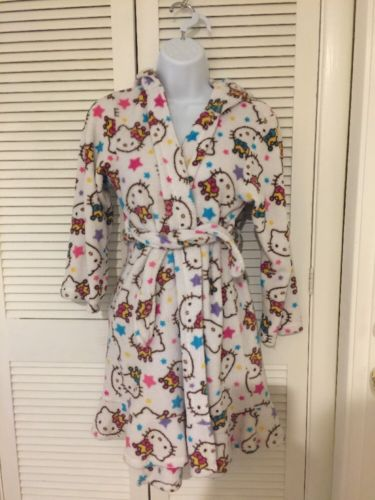 Hello Kitty Robe Girls Size 10 White multicolor belt fluffy pre-owned Hooded