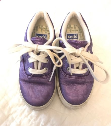Keds 7.5 Toddler Girl Sneaker Tie Kids Shoes Non-Marking Sole Purple EUC