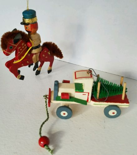 Hallmark Ornament 1989 Pull Toy Wooden Truck & Wooden Soldier Horse - Lot Of 2
