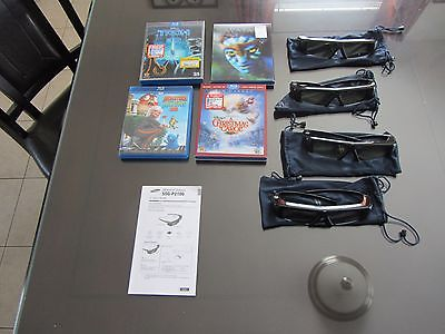 4 SAMSUNG SSG-P2100 3D ACTIVE GLASSES WITH 4 3D BLU RAY MOVIES
