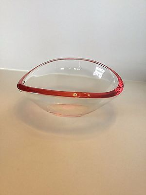 Crate & Barrel Ellipse Red Brim Glass Bowl Dish Made In Germany (New)
