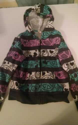 girls old navy hoodie size 6-7 S zipper front hearts