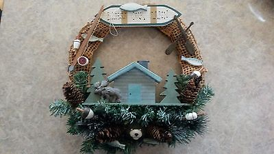 Bless Our Cabin Wreath Fishing Moose Bear Fly Rod Fish Rustic Lodge