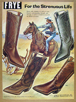 1971 Frye Cowboy Boots 4 Boot Styles illustrated color art vintage print Ad