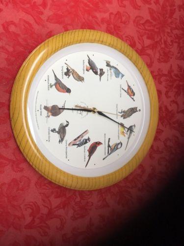 "Singing Bird Clock National Audubon Society Wall Clock 13"" Owl, Oriole/Cardinal+"