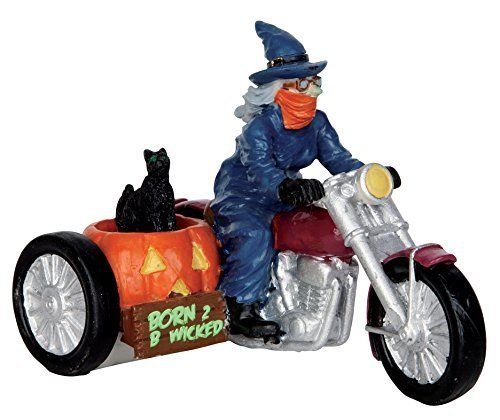 Lemax Spooky Town Born 2 B Wicked Witch Motorcycle NRFP