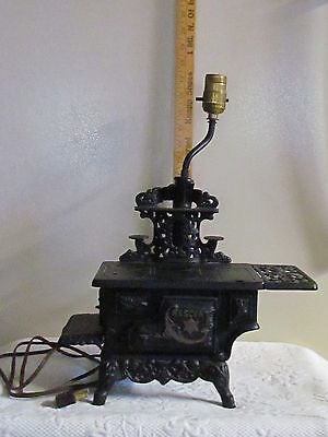 Vintage Cast Iron Crescent   Stove Lamp  VGC Adorable  Country Decor