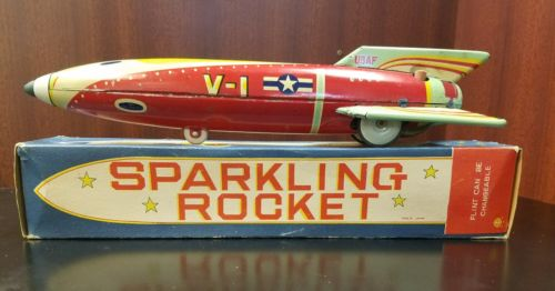 Original Masudaya Japanese Tin Litho V-1 Sparkling Rocket-Friction-Cmaqstan