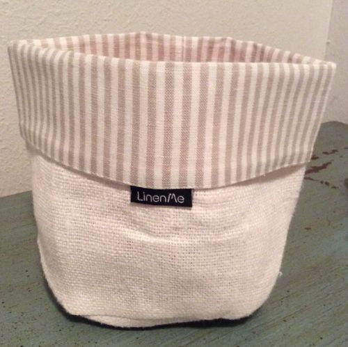 LinenMe Lara Cotton Beige & Striped Cuff Basket