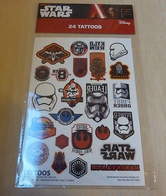 Star Wars temporary tattoos 24 ct X-Wing, Kylo Ren, BB-8, Chewbacca, First Order