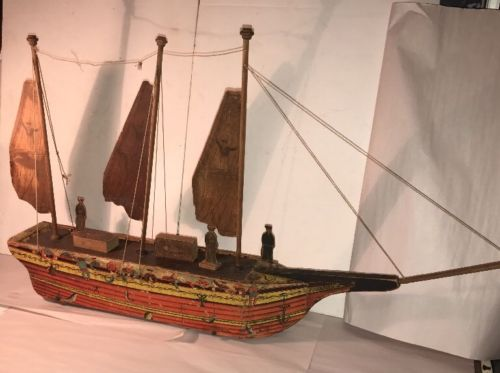 Large Antique Toy German Sailing Fishing Ship With Litho Paper Over Wood 19th C