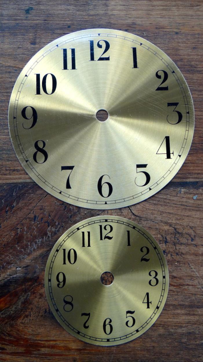LOT OF 5 Klock-It Round Aluminum Clock Dial Faces GOLD BRASS ARABIC