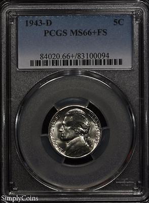 1943-D Jefferson Silver War Nickel 5c ~ PCGS MS66+ FS PLUS ~ STUNNING! #0094