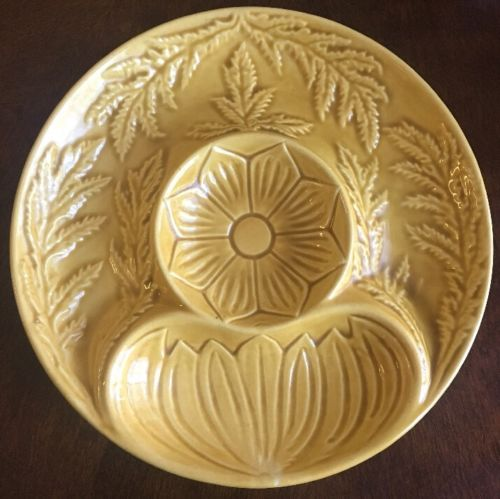 CALIFORNIA POTTERY USA 452 Artichoke Chip Dip Serving Plate Yellow