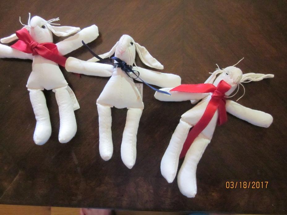 3 Small Cloth Dolls Bunnies Rabbits 5