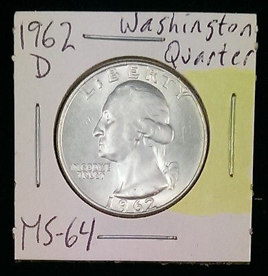 1962-D Washington Quarter~Near Gem Brilliant Uncirculated, Blast White Luster!