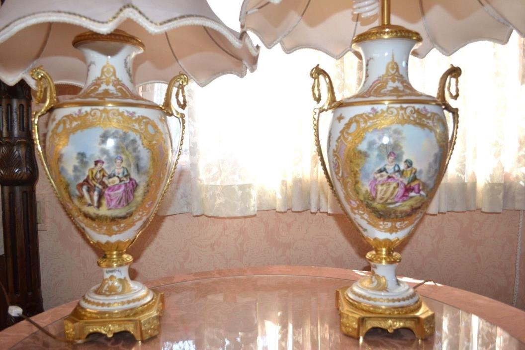 A pair of 19th century Sèvres ormolu mounted porcelain vases made to lamps
