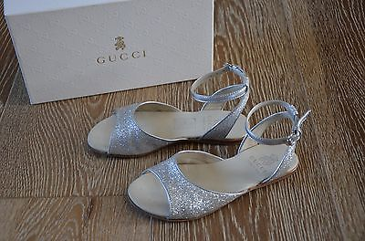 Gucci Girls Leather Glitter Sandals in Silver Size EURO 29/US 11 GUC ITALY!