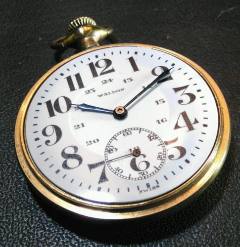 WALDON SWISS MADE SIZE 16 POCKET WATCH MAJESTIC CASE EXCELLENT WORKING CONDITION
