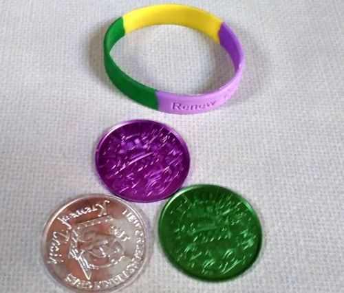 Marti Gras coins and braclet