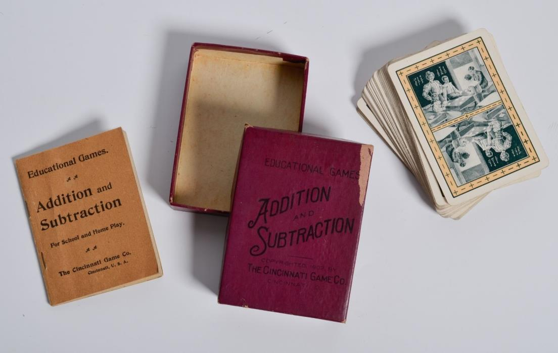 Antique 1902 Cincinnati Game Co. ADDITION and SUBTRACTION Card Game Ohio, USA