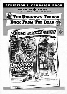 'UNKNOWN TERROR' & 'BACK FROM THE DEAD' - MALA POWERS - PRESSBOOK WITH CUT