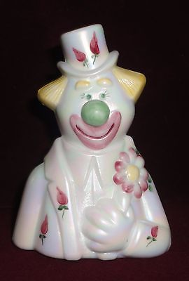 Top Hat Clown FENTON Glass Signed Marilyn Wagner Hand Painted 1982-1985 roses