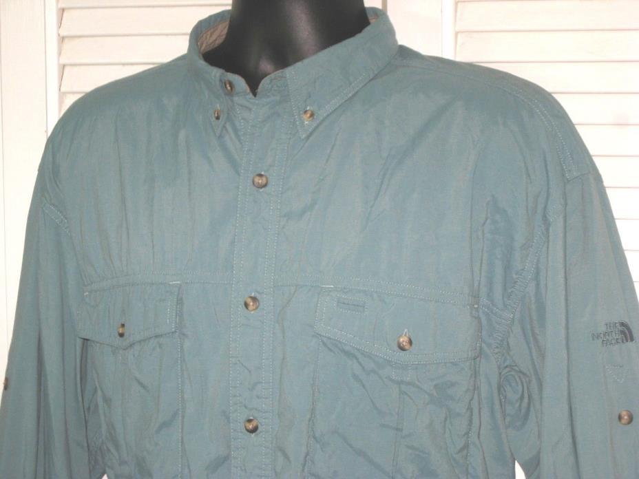 The North Face Long Sleeve Nylon Fishing Shirt~Lt Teal~Roll Tabs~Men's L~EUC!