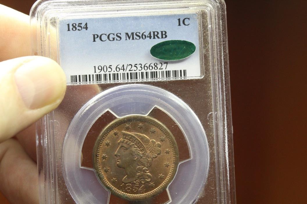 1854 Cent M64 RB PCGS CAC (611)