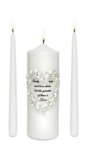Celebration Candles Unity Candle Set with Floral Heart Frame and Corrinthian