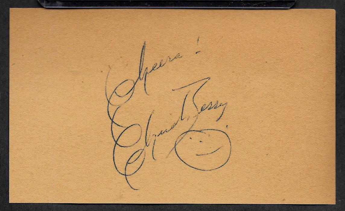 Chuck Berry Autograph Reprint On Old 3x5 Card Johnnie B Goode