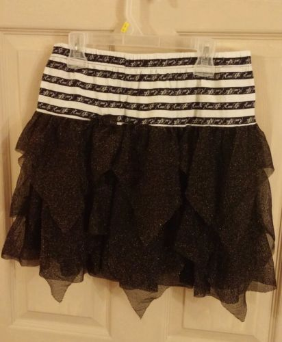 Girls black gold and white ever after high skirt size14-16 xl