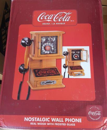 NICE Coca Cola Nostalgic Wall Phone Wooden Finish Dial Coke IN BOX