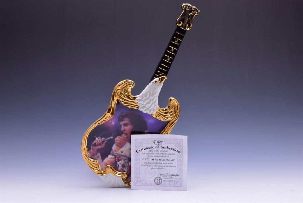 Bradford Exchange 1973 Aloha From Hawaii Elvis Presley Plate Guitar w/ COA - EUC