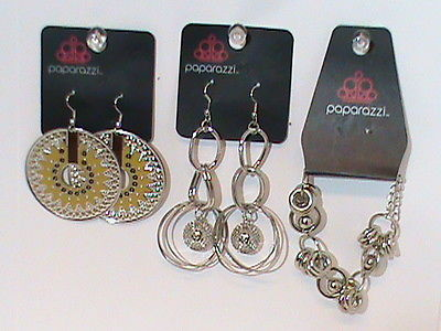 Paparazzi Fashion Jewelry 2 pr. Earrings 1 Bracelet