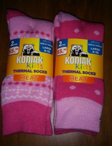 NEW! Girls Kodiak Kids Thermal 2 Pack Socks HEAT Pink Sz L. 4-10 4 Pairs Total