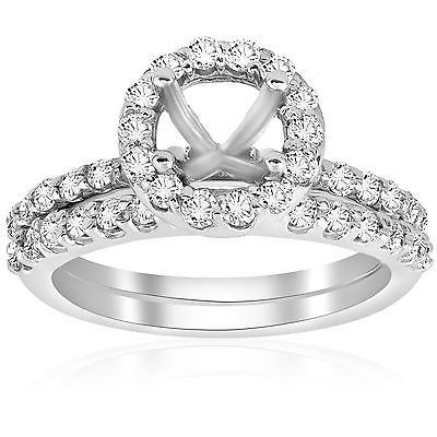 7/8ct Diamond Halo Engagement Ring Setting 14K White Gold Mounting Matching Band