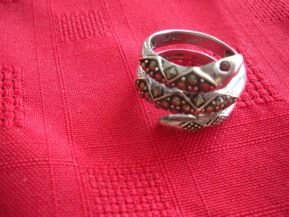 Sterling Silver 925 Marcasite Snake Coiled Ring Size 7 - 6.5 Grams