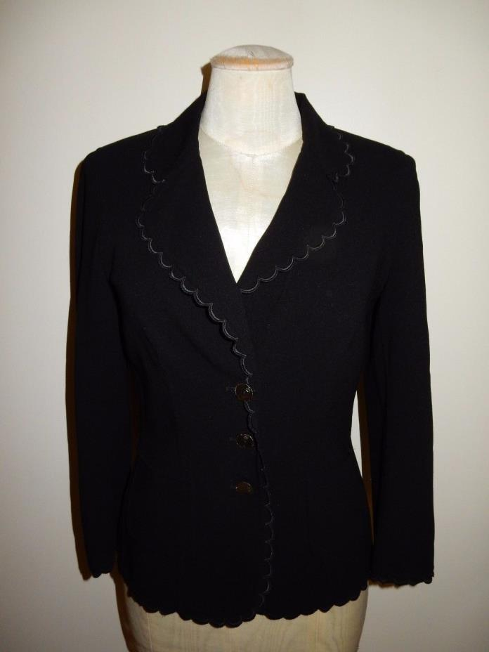 Escada Made in Italy Wool Blend Black Two Piece Evening Pant Suit Size 34 RARE